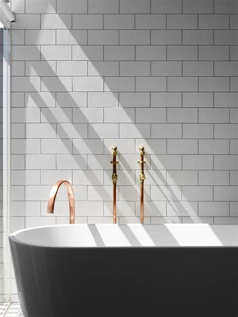 copper bathroom tiles white tiles copper details beautiful bathroom