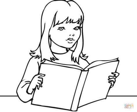 Coloring Page Girl Reading | a girl reading a book coloring page free printable