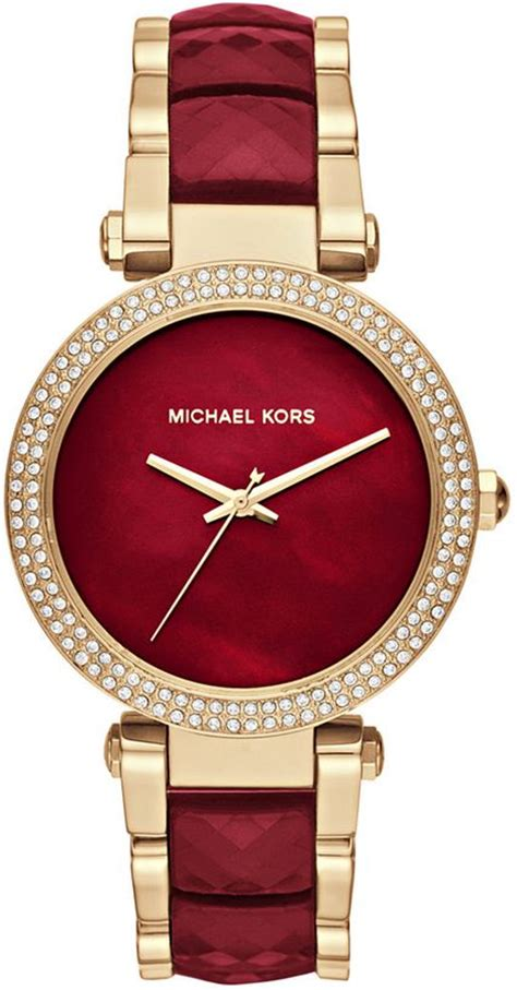 Women's Michael Kors Parker Crystallized Red Bracelet Watch MK6427