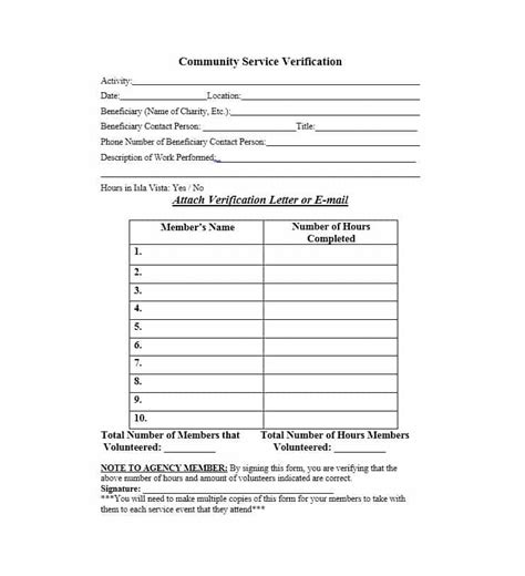 Community Service Letter 40 Templates Completion Verification Community Template
