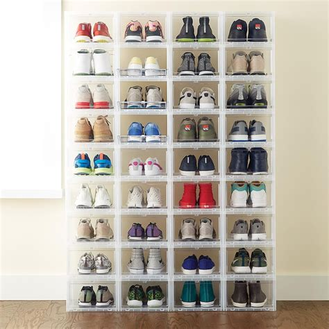 storage bins for shoes s drop front shoe box closet shoe storage drawers