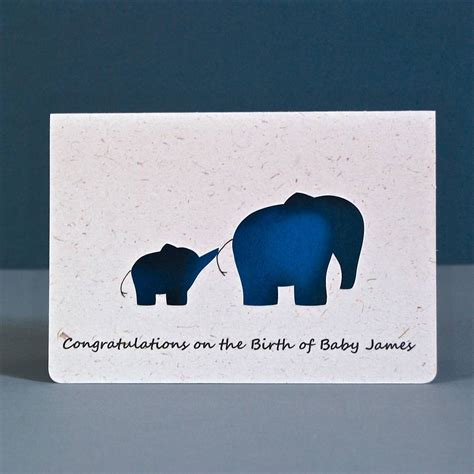 elephant cards elephant baby personalised cut card by ruby wren