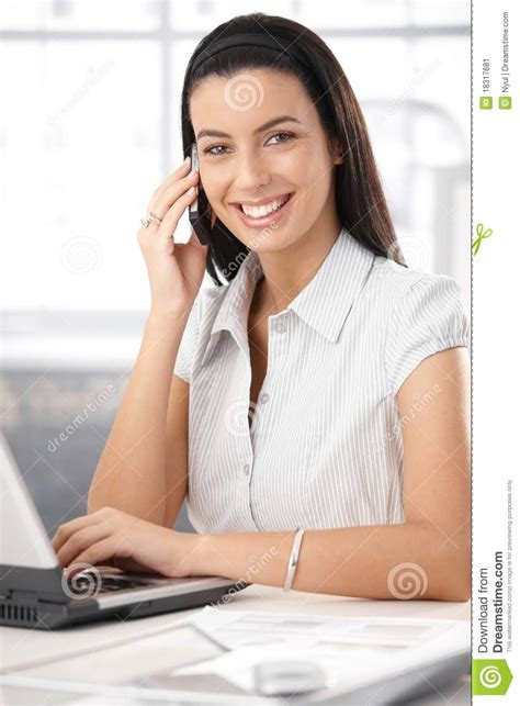 Office Assistant by Cheerful Office Assistant On Call Stock Image Image
