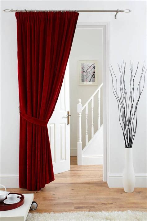 deep red curtains deep pile velvet door curtain pencil pleat fully lined