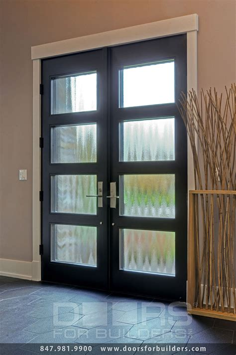 Privacy Glass Doors Custom Modern Wood Door Insulated Privacy Glass