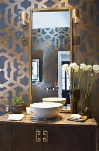Art Deco Vanity With Round Mirror Gorgeous Bathroom In Taupe Brown Gray And Antique Gold