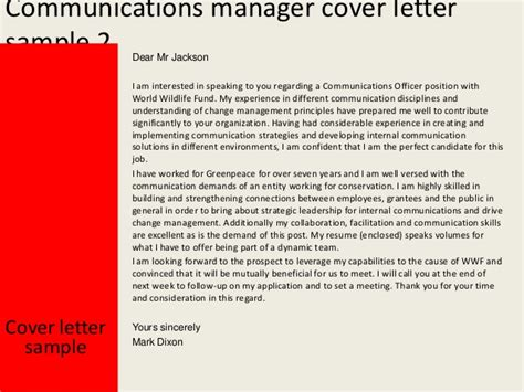 Communications Project Manager Cover Letter communications manager cover letter