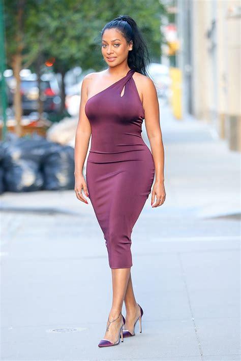 Lala Dress la la anthony in purple dress in nyc as carmelo celebrates