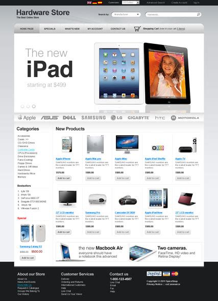 oscommerce templates hardware v2 3 oscommerce template id 300111442