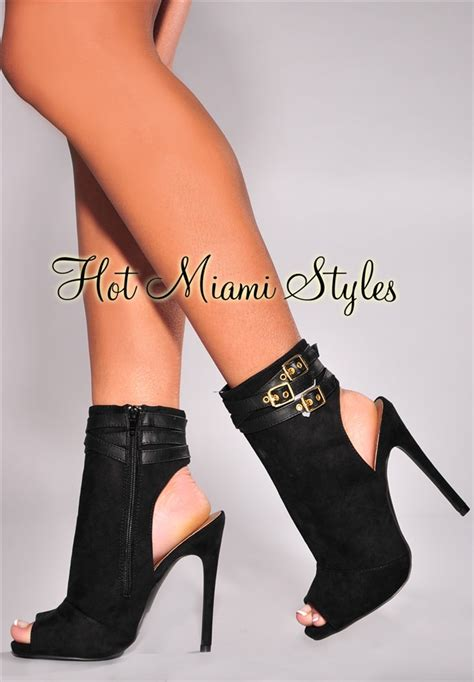 black suede high heel booties black faux suede peep toe high heel booties