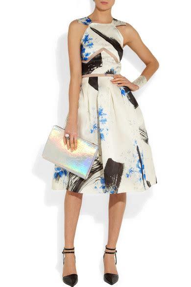 Silk Printed Silk Dress Intl christopher printed silk organza dress net a