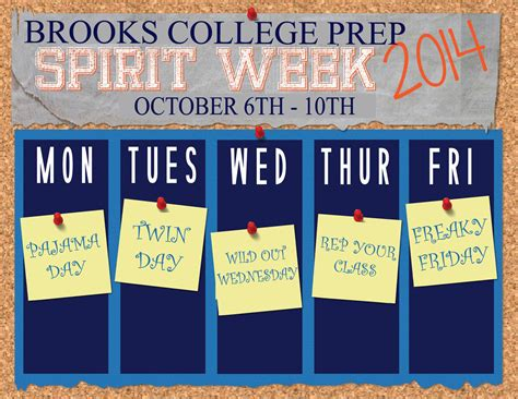 Spirit Week Gwendolyn Brooks College Prepatory Academy Free Spirit Week Flyer Template