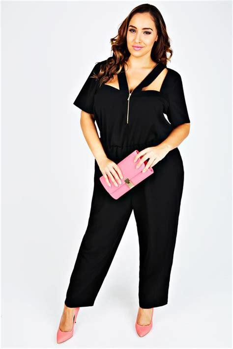 Big Size Dress Ld120 Denim 576 black length jumpsuit with zip cut out detail plus