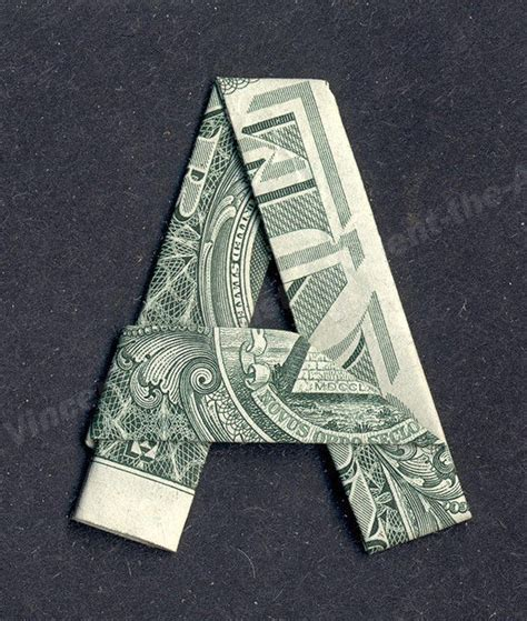 Dollar Bill Origami Letters - money origami letters made with real dollar bill