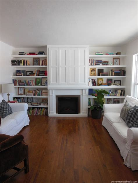 Large Open Bookcase Remodelaholic Built In Fireplace Surround And Shelving