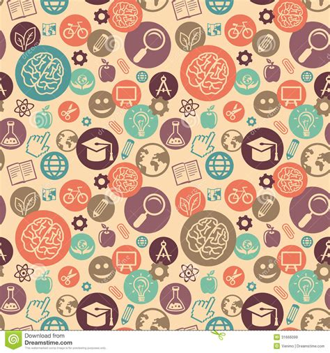 flat background pattern free vector seamless pattern with education icons stock vector