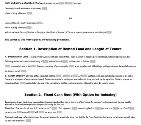 12 Free Sle Professional Farm Land Lease Agreement Templates Printable Sles Ranch Lease Agreement Template