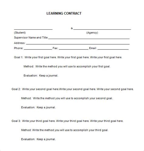 Student Contract Template by 7 Learning Contract Templates Free Word Pdf Documents