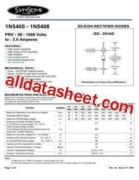 1n5408 diode datasheet 1n5408 datasheet pdf synsemi inc
