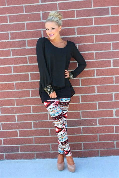 aztec pattern leggings outfit wearing the aztec print trend in style aztec printing