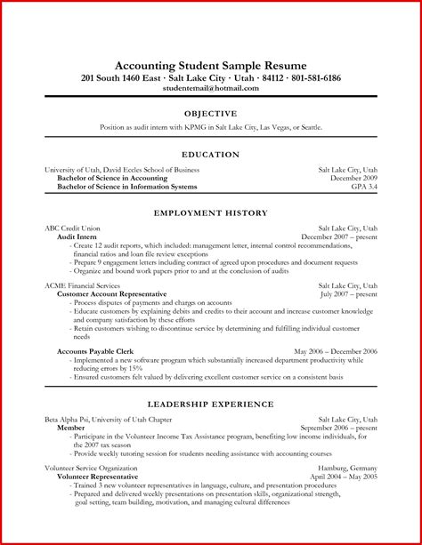 inspirational accountant resume exles sles mailing