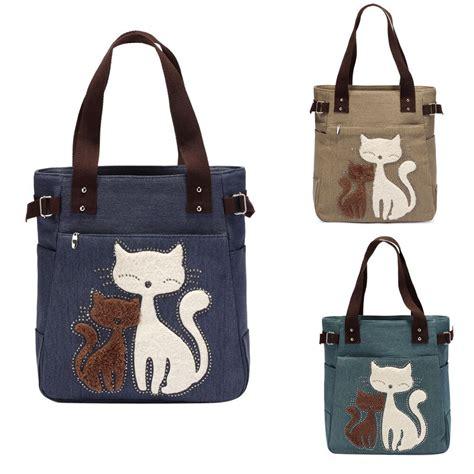 Tote Cat canvas cat print handbag shoulder bag tote purse
