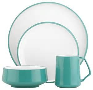 Modern Dishware Sets Dansk Kobenstyle 4 Place Setting Teal Modern