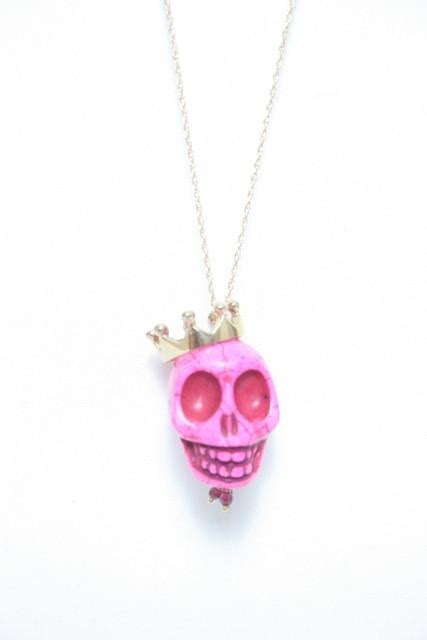 kyle richards skull necklace crowned skull necklace soixante neuf inc