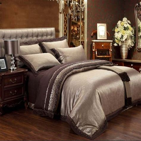 queen bed comforters jacquard silk bedding set luxury 4pcs brown satin duvet