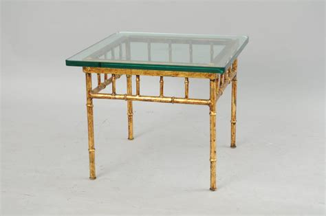 gilded iron faux bamboo accent table at 1stdibs italian gold gilt iron and glass faux bamboo metal square