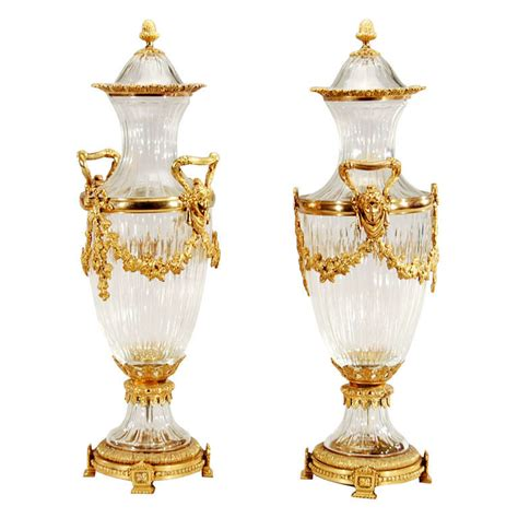 pair of signed baccarat vases with ormolu bronze