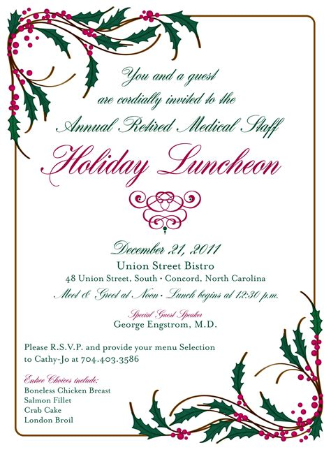 wording for employee holiday luncheon ritter cmc northeast 2011 luncheon invitation