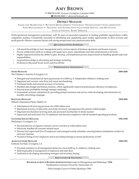 Sle Resume Restaurant District Manager District Manager Resume Sle The Best Resume