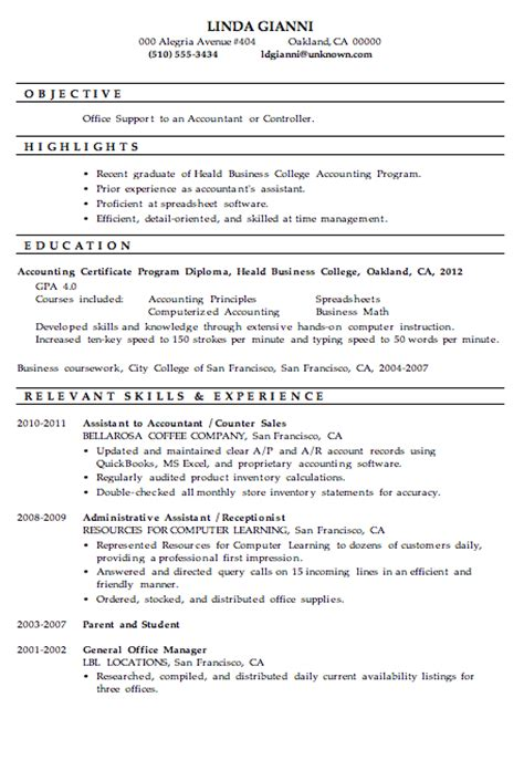resume sles for college students accounting resume sle office support