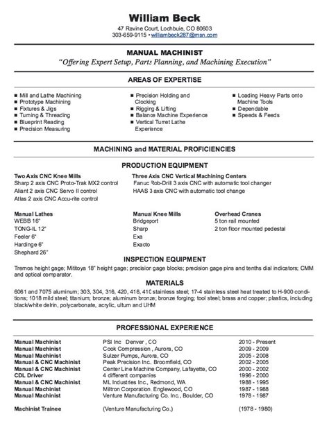 Machinist Resume by New Cnc Machinist Resume Sles Http Resumesdesign