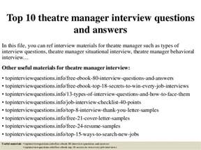 top 10 theatre manager questions and answers