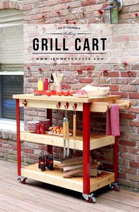 build  rolling grill cart grill cart diy wood