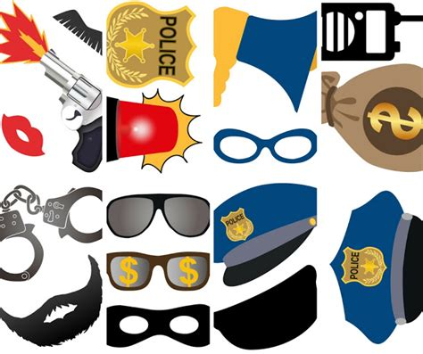 printable police photo booth props southern blue celebrations police law enforcement