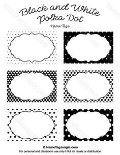template for student desk name cards free black and white free printable polka dot name tags the template can also