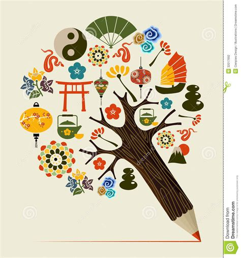 what is the tradition of the tree china tradition concept pencil tree stock photography