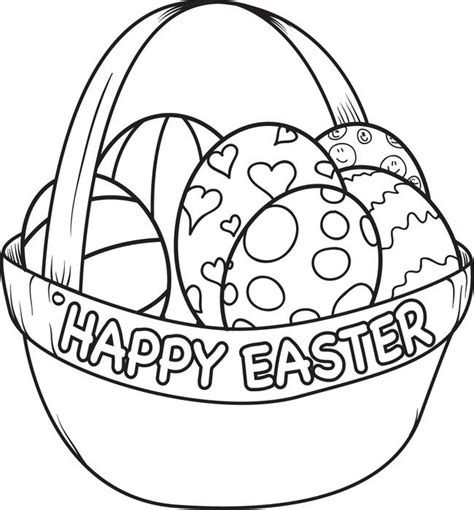 free printable easter egg basket coloring page for kids