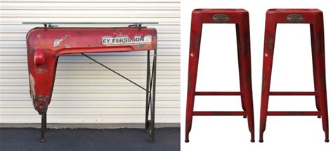 Masseys Furniture by Upcycled Massey Ferguson Tractor Table Adds Rustic Charm