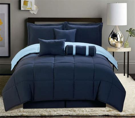 navy blue and grey bedding 7 pc reversible comforter set king size navy blue soft new
