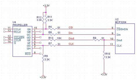 resistors on spi lines mcp3204 5ft away from prop parallax forums