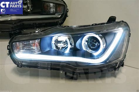 angel eyes drl led light bar headlights for mitsubishi