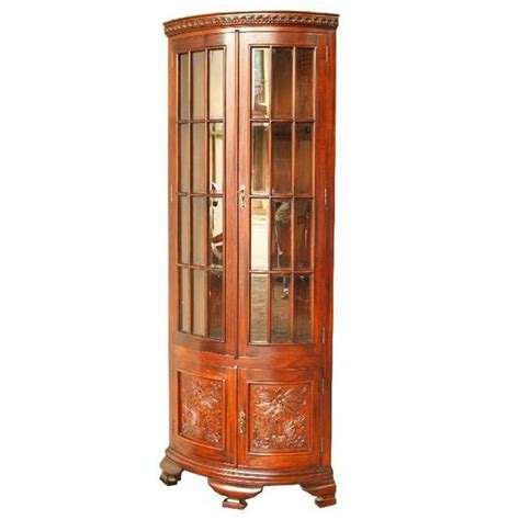 Wooden Filing Cabinet Antique Bow Fronted Corner Display Cabinet Akd Furniture