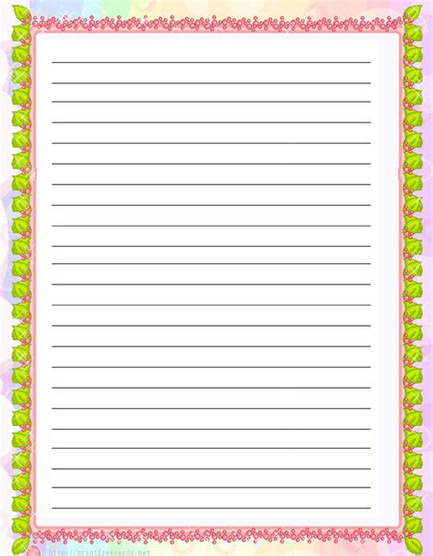 Paper With Children - flowers free printable stationery for regular lined