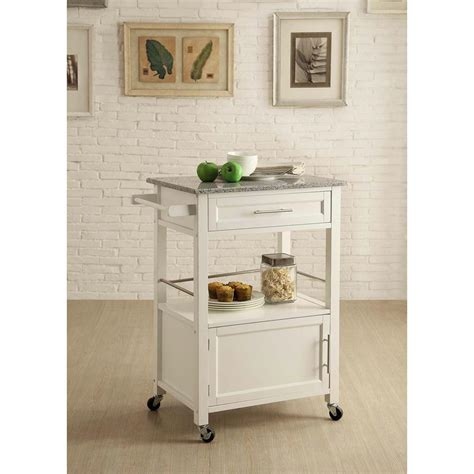linon home decor mitchell white kitchen cart with storage