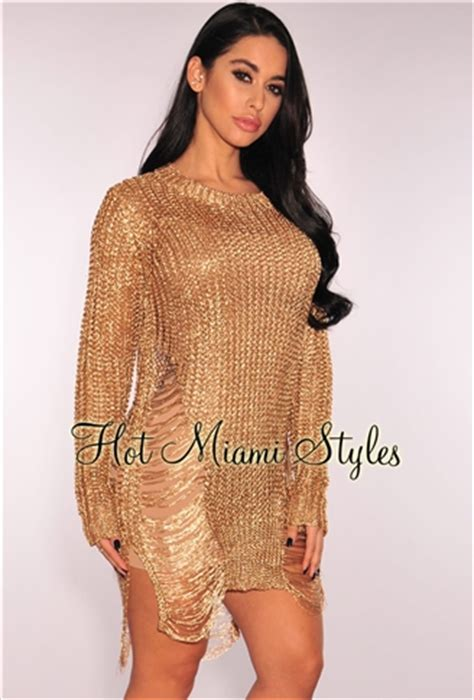 Ripped Knit gold metallic ripped knit sleeves sweater