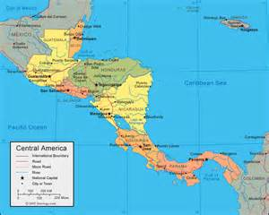 physical map of south america and central america